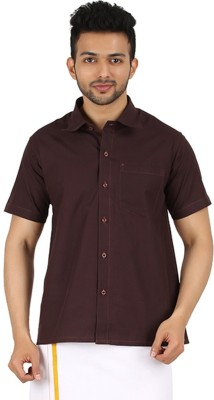 MEENAVISION Men's Solid Formal Brown Shirt