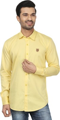 Lee Baron Men's Solid Casual Yellow Shirt