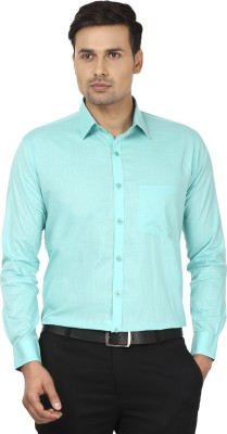 Edinwolf Men's Solid Formal Green Shirt