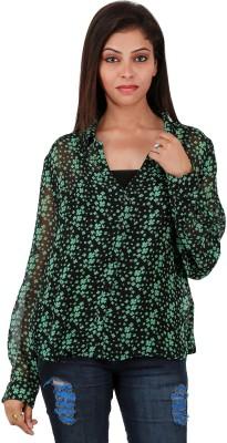 RELIABLE Women's Polka Print Casual Black Shirt