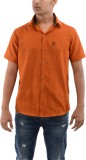 Moshi Men's Solid Casual Orange Shirt