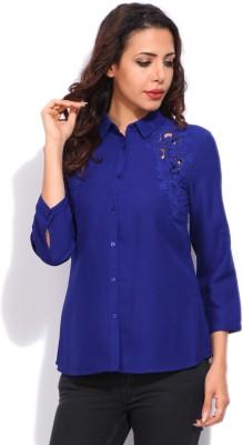 Vanheusen Womens Solid Casual Blue Shirt