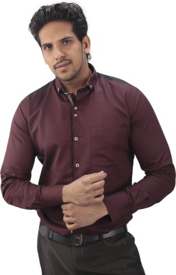 Tabard Men's Self Design Casual Black, Maroon Shirt
