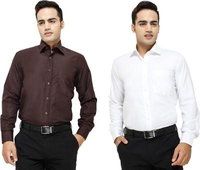Yuva Men's Solid Formal Brown, White Shirt