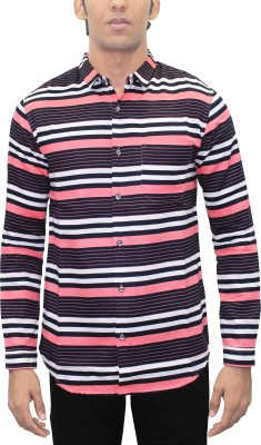 Kuons Avenue Men's Striped, Printed Casual Pink, Black Shirt