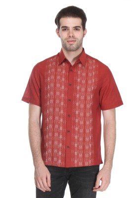 Reevolution Men's Printed Casual Red Shirt