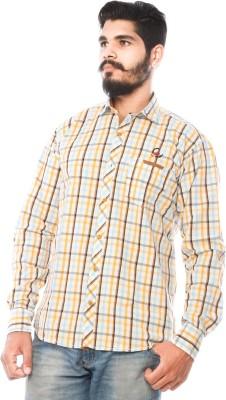 LWW Men's Checkered Casual Yellow Shirt