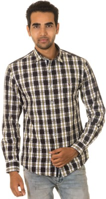 West Vogue Men's Checkered Casual Black Shirt