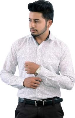 Strobe Men's Printed Formal White Shirt