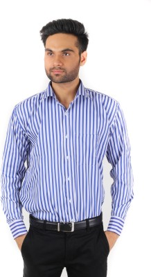 Spaky Men's Striped Formal Blue Shirt