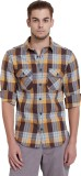 Breakbounce Men's Checkered Casual Brown...