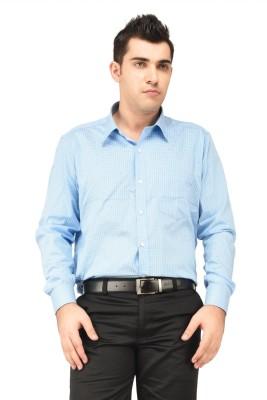Hyphen Men's Checkered Formal Blue Shirt