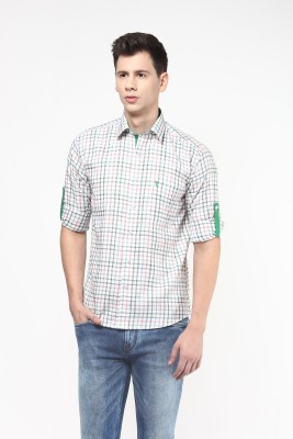 Remo Men's Checkered Casual Beige, Green Shirt