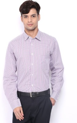 Nord51 Men's Checkered Casual, Formal Purple, White Shirt