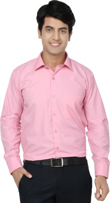 Spaky Men's Solid Formal Pink Shirt