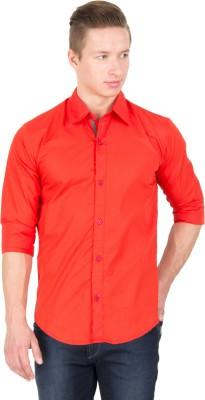 Tuscans Men's Solid Casual Orange Shirt