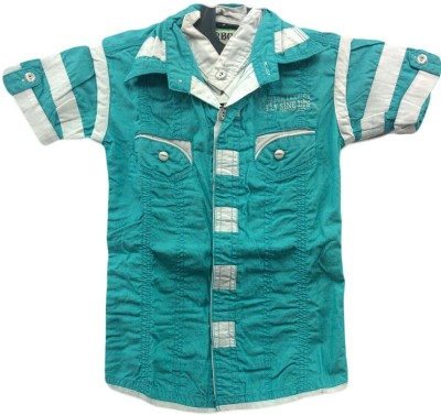 Angel Kids Boys Solid Party Blue, White Shirt
