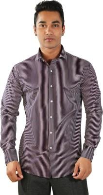 Just Differ Men's Striped Formal Black Shirt
