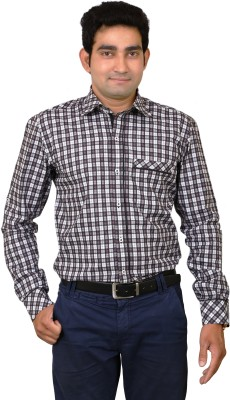 Benzoni Men's Checkered Formal Black, White Shirt