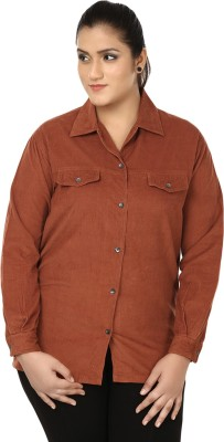 Eves Pret A Porter Women's Solid Casual Brown Shirt