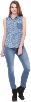 We Desi Women's Printed Formal Blue Shirt