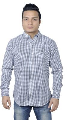 Round Bats Men's Checkered Casual Blue Shirt