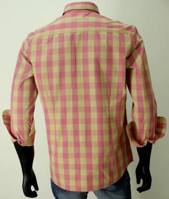 Enryca Men's Striped Casual Pink Shirt