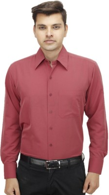 Try Me Men's Solid Formal Maroon Shirt