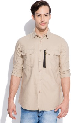 Silly People Men's Solid Casual Beige Shirt