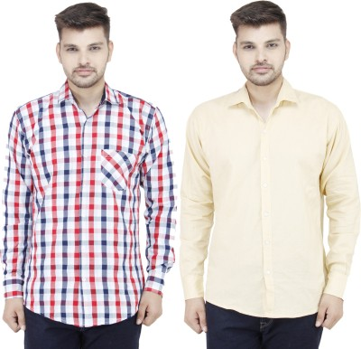 Movitex Men's Checkered Casual Red, Beige Shirt