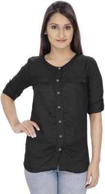 Franclo Women's Solid Casual, Formal Black Shirt