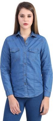 Zayn Women's Solid Casual Denim Blue Shirt