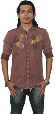 Fisheye Men's Printed Casual Maroon Shirt