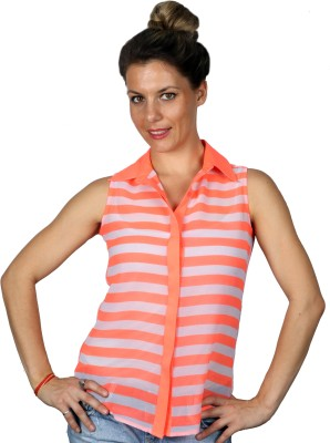 Ir Apparels Women's Striped Casual Orange Shirt