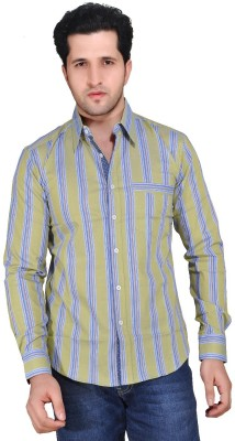 Ubho Core Men's Striped Casual Brown Shirt