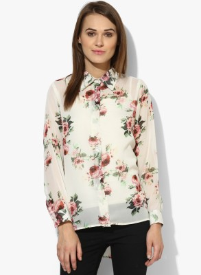 Popnetic Women's Floral Print Casual White Shirt