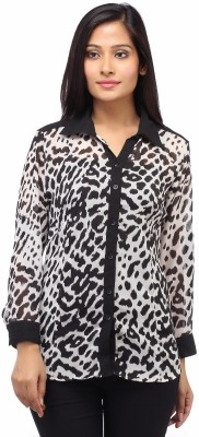 Entease Women's Animal Print Casual Black, White Shirt