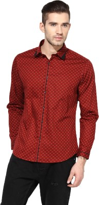 MONTEIL & MUNERO Men's Printed Casual Red Shirt