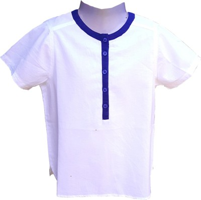 Aummade Boy's Solid Casual Blue, White Shirt