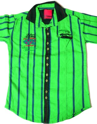 Kidicious Boy's Printed, Striped Casual Green, Blue Shirt