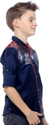 Mash Up Boy's Printed Casual Blue Shirt