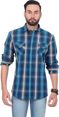 Urban Republic Men's Checkered Casual Blue, Beige Shirt