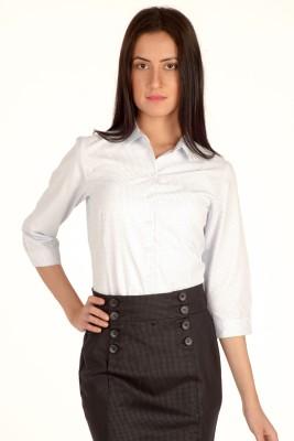 Bombay High Women's Checkered Formal Blue Shirt