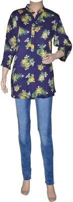Port Women's Floral Print Party Blue Shirt