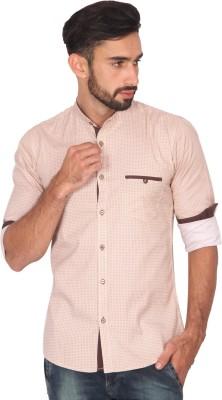 Ashford Brown Men's Printed Casual Beige Shirt