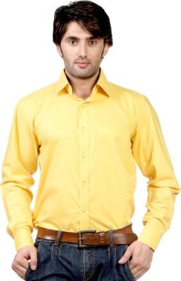 Hugo Chavez Men's Solid Formal Yellow Shirt