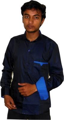 Silvercuffs Men's Self Design Casual Dark Blue Shirt