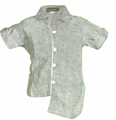 Lil Poppets Boy's Solid Casual Linen Grey Shirt