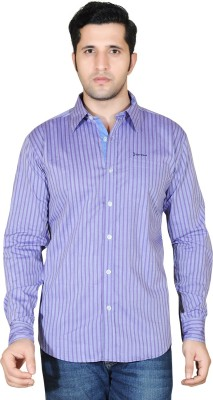 Denimize Men's Striped Casual Purple Shirt