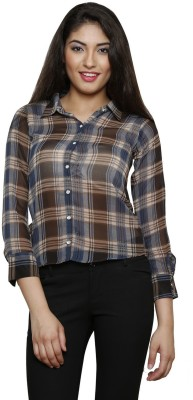 THOUSAND SHADES Women,s Checkered Casual Multicolor Shirt